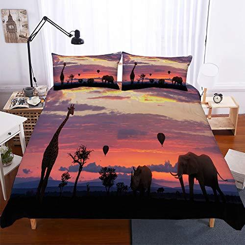 Treer Bettwäsche-Set 3 teilig, Microfaser Drucken Afrikanische Giraffe Reißverschluss Bettbezug +2 x Kissenbezug 50x75cm 3D Design Warme Bettwäsche (3pcs-220x240+50x75cm,Afrikanische Tiere)