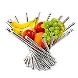 AHZV Creative Pliable fruits en acier inoxydable Bol Cuisine & Dinning Table Decoration Fruit Basket Argent
