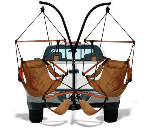 Hammaka Trailer Hitch Stand and 2 Tan Chairs Combo - Wood Dowels