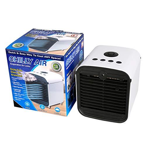 YQ Chilly AIR Luftkühler, Blau Sterilisierend, 3-in-1-Kühlung, Befeuchtung Und Luftreinigung, Leicht Zu Tragender USB-Anschluss, 7-Farben-Nachtbeleuchtung, Geeignet Für Das Heim-Outdoor-Fitnessbüro.