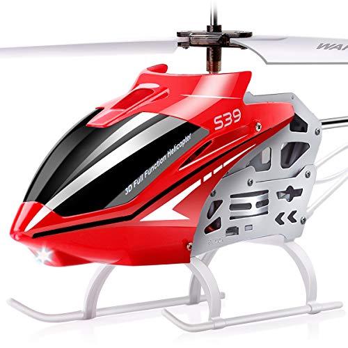 SYMA Elicottero radiocomandato RC per esterni, grande S39, 3,5 canali, 2,4 GHz, luce LED e tecnologia giroscopio, regalo per bambini, rosso