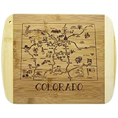 Savor a slice of The Centennial State with this beautiful bamboo serving and cutting board with artwork inspired by the cities, places and people of Colorado. Fun, whimsical laser-engraved artwork calls out all the wonderful sights and places in the ...