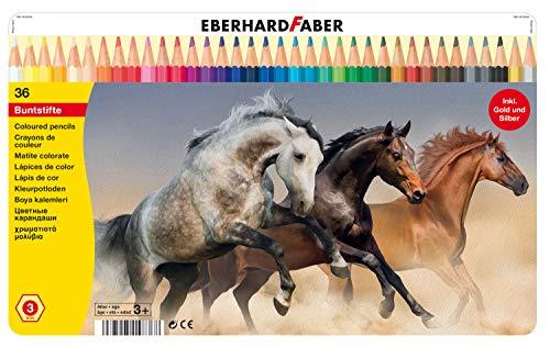 Eberhard Faber 514836 - Buntstifte in 36 Farben, hexagonale Form, im Metalletui, zum Malen, Illustrieren und Zeichnen