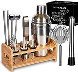 15 Piece Bartender Kit Cocktail Shaker Gift Set with Stand, SUPERSUN Home Bar Set - Martini Shaker with Built-in Strainer, Muddler, Jigger, Drink Shaker 304 Stainless Steel