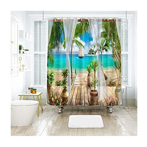 DOLOVE Badewannenvorhang Vintage Duschvorhang Aus Polyester Duschvorhang Coconut Palm Strand Badvorhang Antischimmel Duschvorhang 180x200 cm