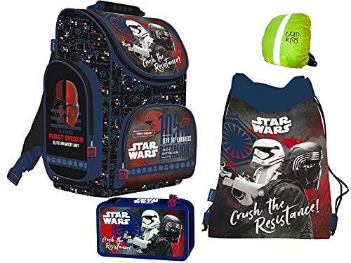4-teiliges Schulranzenset Star Wars Schulranzen, 2-fache gefüllte Federtasche, Schuhbeutel Jungen Star Wars Motiv