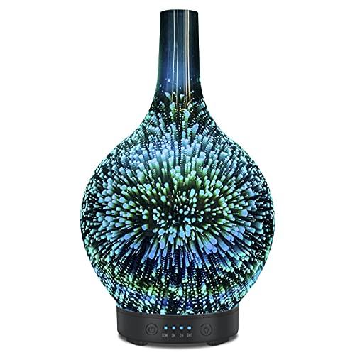 3D Glas Ultraschall ätherisches Öl Diffusor Aromatherapie Diffusor für ätherische öle ultraleise Luftbefeuchter Raumbefeuchter- Automatische Abschaltung bei Wassermangel 7 Farben LED Farbverlauf 120ml