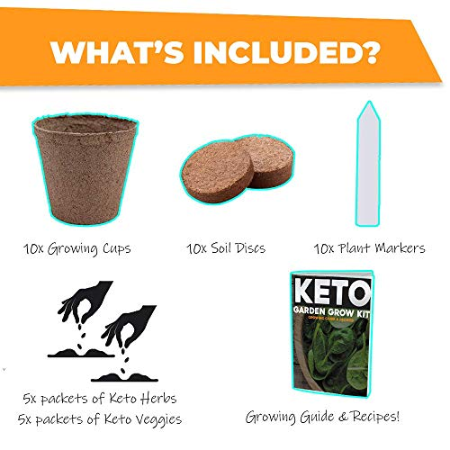 Keto Grow Kit Keto Garden Diet Grow Kit - Plant Your Own Keto Friendly Low Carb Meals Spinach, Kale, Zucchini, Grow Your Own Keto Meals 3
