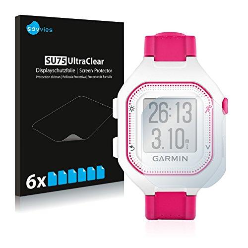 Savvies 6X Schutzfolie kompatibel mit Garmin Forerunner 25 (Small Edition) Bildschirmschutz-Folie Ultra-transparent