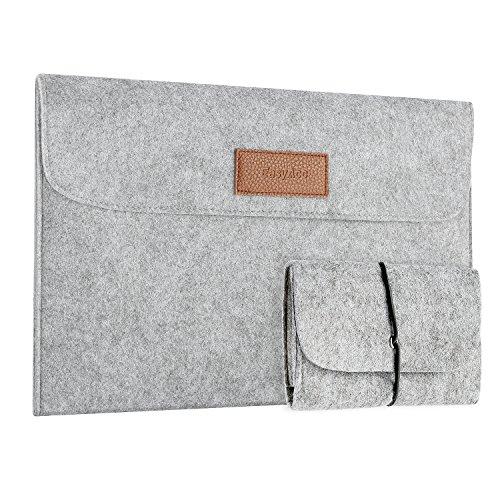 EasyAcc [Upgedatet] 13,3 Zoll MacBook Air/Pro Retina/12,9 Zoll iPad Pro Laptop-Tasche Filz Sleeve Hülle Ultrabook - Grau