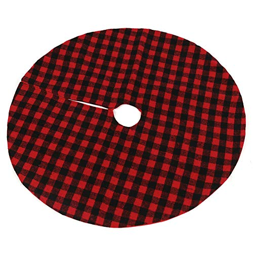 TITA-DONG 35 Inch Christmas Tree Skirt Mat Red and Black Buffalo Plaid Tree Skirt Trim for Merry Christmas New Year Party Holiday Home Indoor Outdoor Decorations