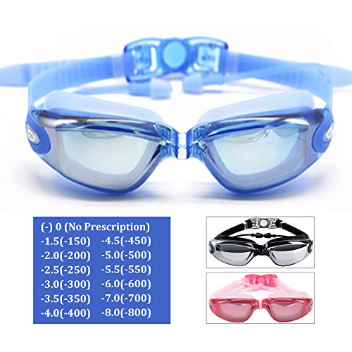 Hersvin Kurzsichtig Schwimmbrillen (0 bis -800) Kurzsichtigkeit UV400 Anti-UV Anti Nebel Sehstärke Schutzbrille mit Abnehmbare Nasenbrücke für Erwachsene Männer Frauen Kinder (Blau, -1.5)