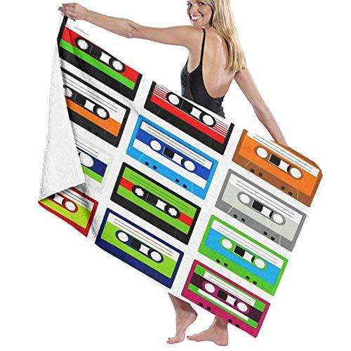 """Grande Suave Toalla de Baño Manta,Colección de los 90 de Cintas de casetes de Audio de plástico Retro, Tema de Entretenimiento de tecnología Antigua,Hoja de Baño Toalla de Playa Nadando,52\"""" x 32\"""""""