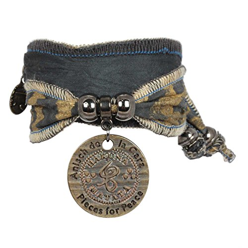 Anisch de la Cara Damen Armband Black Lion - Hakuna Matata Wickelarmband aus Langapalu-Stoff Hakuna Matata - ArtNr. 4400-a
