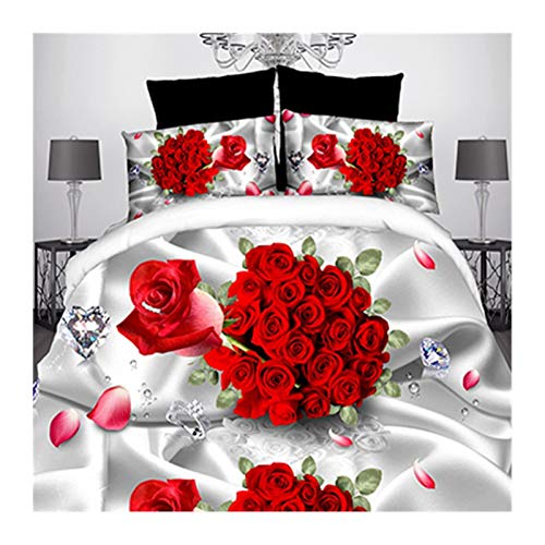 Red Roses Print Bedding Set