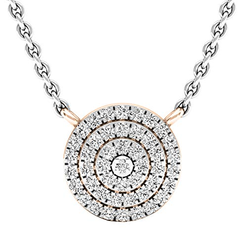 Dazzlingrock Collection 0.25 Carat (ctw) Round Diamond Flower Cluster Ladies Pendant 1/4 CT, 14K Rose Gold (0.25 Ct Pendant)