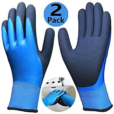 Waterproof Work Gloves, Double Protective Coating Superior Grip Safety Gloves, Durable Comfortable for Outdoor Gardening Fishing Constrction Auto Multipurpose Use