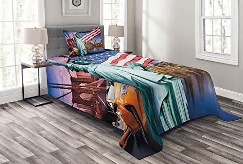 ABAKUHAUS Vereinigte Staaten Tagesdecke Set, Freiheitsstatue, Set mit Kissenbezügen Sommerdecke, für Einselbetten 170 x 220 cm, Mehrfarbig