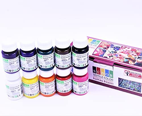 SÜDOR Stoffmalfarben Textilfarben WASCHFEST   Set aus 10 x 25ml stofffarben waschfestben in Fläschchen   waschbeständig bis 40°C   für Stoffmalerei und -druck   Ideal zum TShirt bemalen