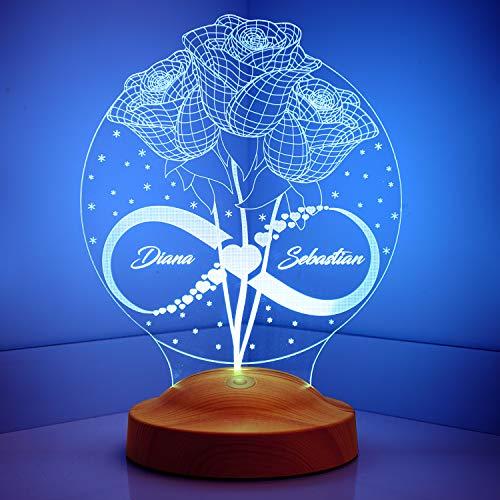 Sentidos Valentinstag Muttertagsgeschenk Nachttischlampe Personalisierte Geschenke 3D Led Lampe Wunschtext Schlummerlicht Farbwechsel Dekor Lampe Rosen und Unendlichkeit