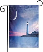 Lighthouse Decor Collection Garden Flag Lighthouse at Night Oceanic Space and Stars Moon Smock Fantasy Magical View Decorative Flags for Garden Yard Lawn W12 x L18 Navy Blue Gray