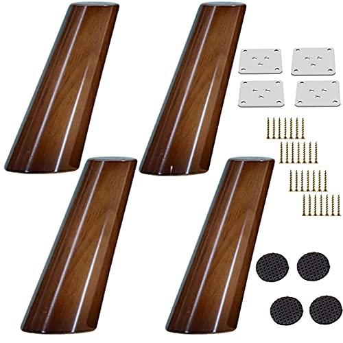 YWTT 4 Piezas de Muebles de Cocina de Madera Maciza Les 80 & deg;Pies de Repuesto para Patas de sofá de Cono Oblicuo para sillón reclinable, Mesa de Centro, aparador, marrón oscuro-8cm