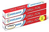Heavy Duty Grill Foil Roll - Pack of 3 - Vented with Holes Specifically for Grilling and Steaming - 12 Inch x 25 Ft