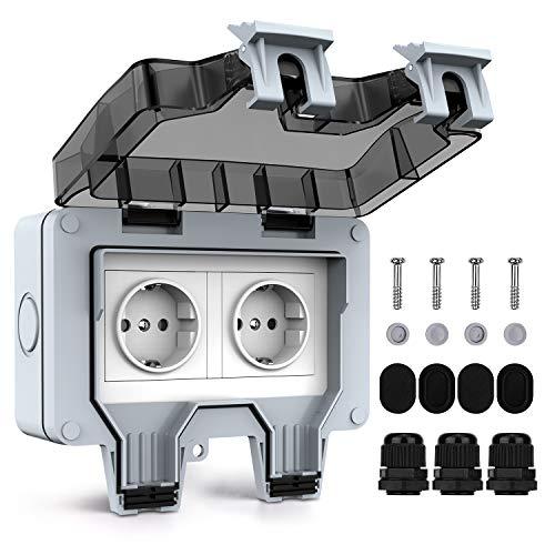 Tikola enchufes impermeables para exteriores, doble enchufe eléctrico para exteriores IP66, cubiertas de enchufes resistentes a la intemperie, 2 enchufes de pared impermeables con cubiertas