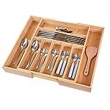 Vidor - Organizer per cassetti da cucina, espandibile, porta utensili e posate, con divisori scanalati, per posate e utensili da cucina (9 scomparti, naturale)