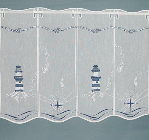 Fashion&Joy - Scheibengardine nach Maß MARITIM - Höhe 45 cm - Breite der Gardine durch Stückzahl in 32 cm Schritten wählbar - Bistrogardine Leuchtturm Marititm Typ419