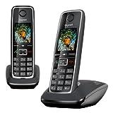Gigaset C530 Duo - Teléfono inalámbrico (2 terminales), color negro [Versión Importada]