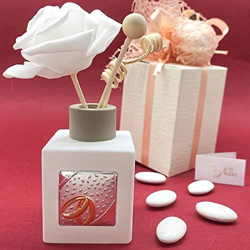 Ingrosso e Risparmio Ambientador cuadrado de cristal satinado con varillas y placa plateada con alianzas, bombonera moderna para boda, con caja de regalo (con caja Tiffany)