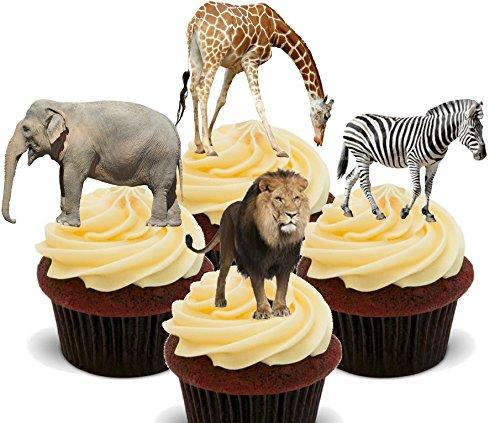 Made4You Essbare Kuchendekoration, afrikanische Tiere/Safari-Tiere, auffstellbare Deko aus Esspapier., 24er-Pack