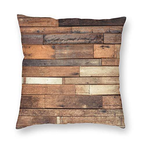 Ethaico - Funda de cojín de madera para suelo rústico, diseño de jersey impreso, madera de nogal rústica, imagen de grano de roble, funda de almohada decorativa cuadrada, 40 x 18 cm, color marrón