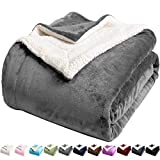 LBRO2M Sherpa Fleece Bed Blanket Queen Size Super Soft Fuzzy Plush Warm Cozy Fluffy Microfiber Couch Throw Velvet Double Reversible Luxurious Blankets,Grey