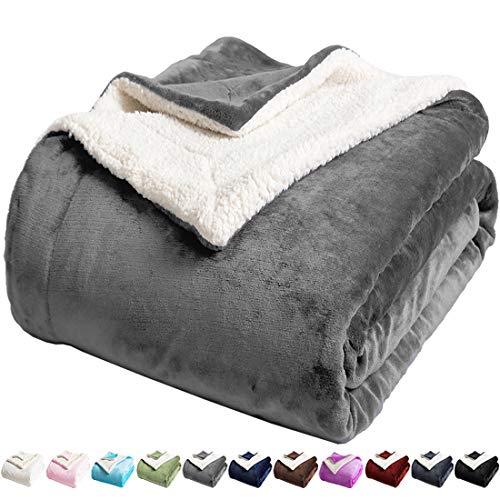 LBRO2M Sherpa - Manta de forro polar para cama tamaño Queen Super suave y mullida de microfibra para sofá (gris, Queen (228 x 228 cm)