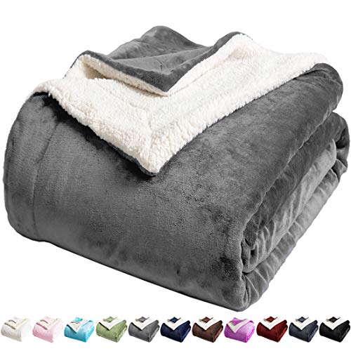 LBRO2M Sherpa Fleece Bed Blanket Twin Size Super Soft Fuzzy Plush Warm Cozy Fluffy Microfiber Couch Throw Velvet Double Reversible Luxurious Blankets (Grey, Twin(65x90 Inches))