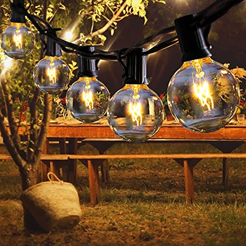 Outdoor String Lights FOCHEA 31ft G40 Outdoor Garden Globe String Lights Festoon Lighting for Indoor & Outdoor Décor Wedding Backyard Patio Cafe Party Decoration Warm White with 25Pcs Bulbs
