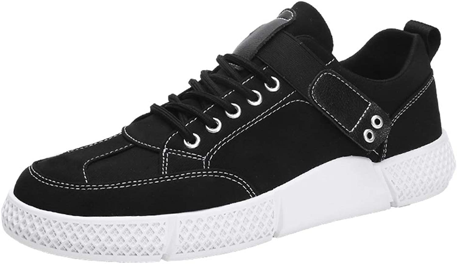 Easy Go Shopping Sneaker For Men Sports shoes Lace Up Cloth Round Toe Low Top shoes Hook&Loop Strap Cricket shoes (color   Black, Size   8.5 UK)