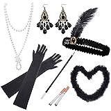 Auihiay Juego de 10 accesorios de los años 20 Flapper Roaring 20s con diadema de plumas vintage guantes collar pendientes pluma Boa negro...