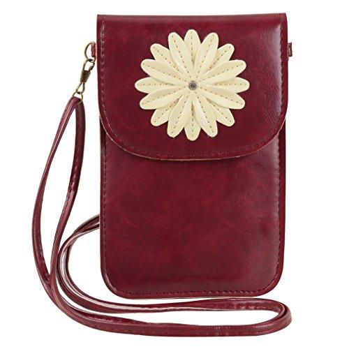 Jlyifan Flower Design Crossbody Touch Screen Leather Case Pouch Bag for Samsung Galaxy J7 / On5 / BLU R1 / ZTE Blade V7 / Alcatel Pop 4S / 4+ / LG K7 / Motorola Moto G4 Plus(Wine Red)