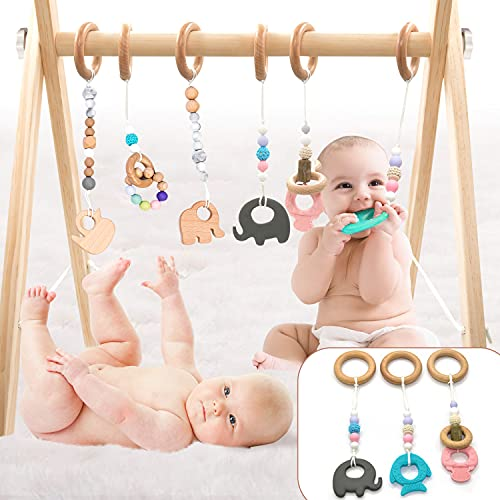 LaviElle Wooden Baby Gym Mobile Foldable 6 Hanging Bar Gym Toys Non Toxic Organic Vegan Newborn and Infant Activity Center for 0-1.5 Years Unique and Beautiful Style Gender Neutral Perfect Baby Shower