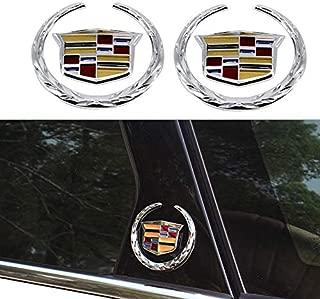 idingxin 3D 6cm Wreath & Crest Emblem Badge Stickers Compatible With Cadillac Escalade (2pcs)