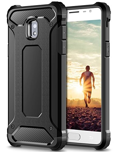 Coolden Samsung Galaxy J3 2017 Hülle, Premium [Armor Serie] Outdoor Stoßfest Schutzhülle Tough Silikon + Hard Bumper Militärstandard Handyhülle für Samsung Galaxy J3 DUOS(Schwarz)