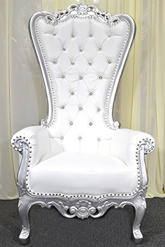 American Home Design Silver Baroque Hand Carved Throne Chair...