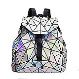 N\C Ladies Rhombus Backpacks, Geometric Laser Backpacks, and Colorful Folding Student Backpacks, Stylish and Beautiful, Very Practical.