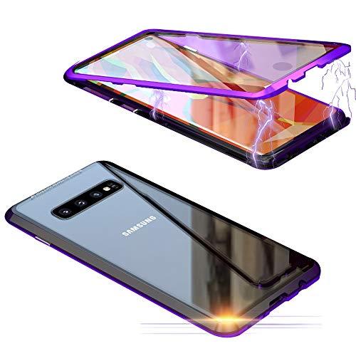 Jonwelsy Schutzhülle für Samsung Galaxy S10 (6,1 Zoll), 360 Grad vorne und hinten, transparent, gehärtetes Glas, Starke Adsorptionstechnologie, Metall Bumper Lila/schwarz