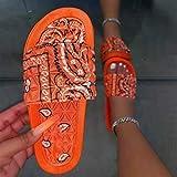 CCJW Sandalias de baño para interiores y exteriores, sandalias de playa de raso flores-naranja_42, sandalias para mujer con puntera abierta kshu