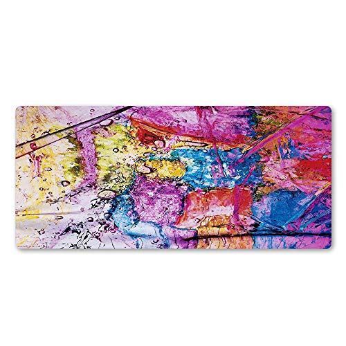 LJUKO Gaming Mouse Pad Creativity Color Microscope Microbe 31.5x15.7 inch Mouse Pad, Mousepad Anti-Slip Rubber Waterproof Mouse Mat with Durable Stitched Edge for Office Gaming Laptop Computer PC
