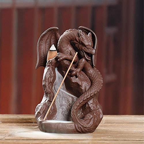 Jtoony Incienso titular de dragón de cerámica cascada de reflujo cono de incienso quemador de humo incensario titular decoración quemador de incienso